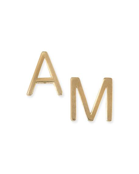 Maya Brenner Designs Yellow Gold Mini Initial Earring,