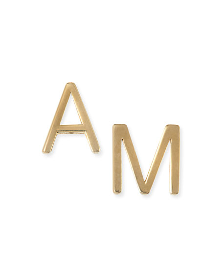 Maya Brenner Designs Yellow Gold Mini Initial Earring,