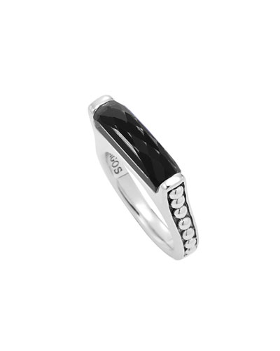 Silver Maya Black Onyx Stackable Ring, Size 7