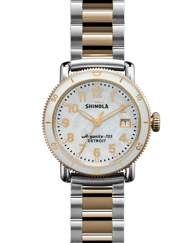 36mm Runwell Sport Two-Tone Watch, White