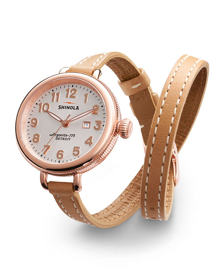 Shinola 34mm Birdy Rose Golden Double-Wrap Watch, Tan