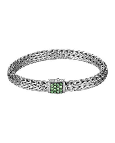 John Hardy Classic Chain 7.5mm Medium Braided Silver Bracelet, Tsavorite