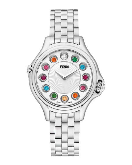 Fendi Crazy Carats Stainless Steel Topaz Watch with White Dial, 3.61 TCW