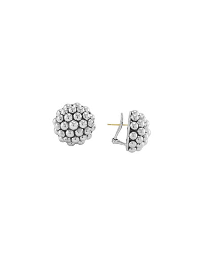 Sterling Silver Caviar Round Clip Earrings, 22mm