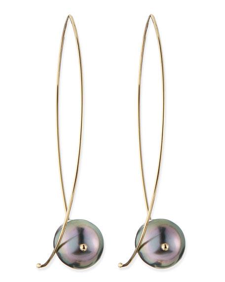 Mizuki 14k Gold Black Tahitian Pearl Earrings