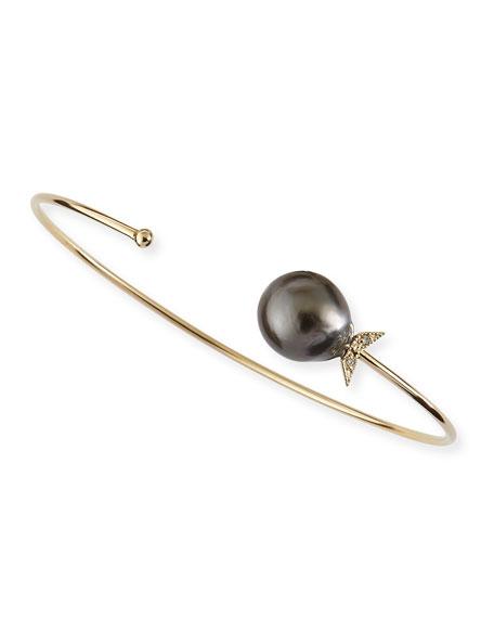 Mizuki 14k Gold Black Tahitian Pearl Cuff with Diamonds