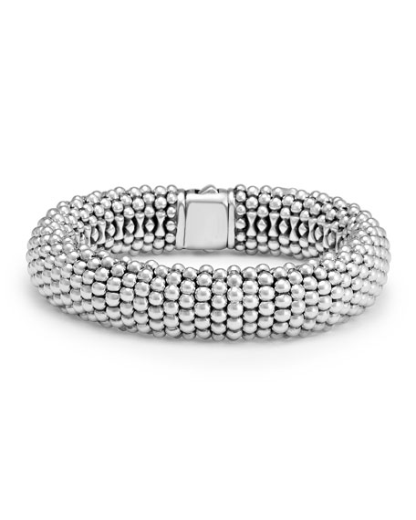 Signature Caviar Wide Rope Bracelet (Online Only) in Silver/ Gold