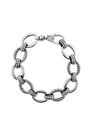 Lagos Silver Small Caviar & Fluted Link Bracelet, 15mm