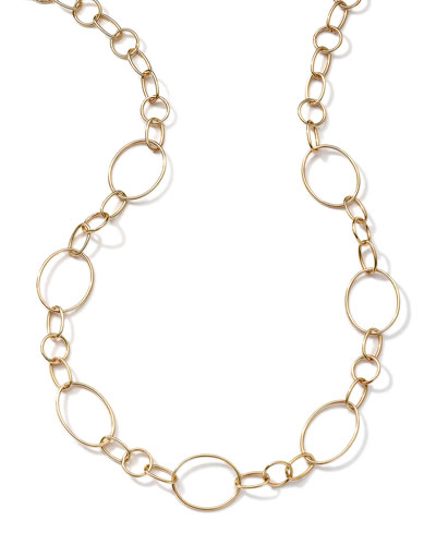 18k Gold Glamazon Link Necklace with Seven Ovals, 17""