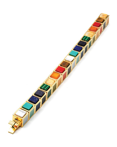 Cube Bracelet with Mixed Inlaid Stones