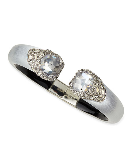 Lucite Kite Medium Hinge Bracelet with Crystal Caps