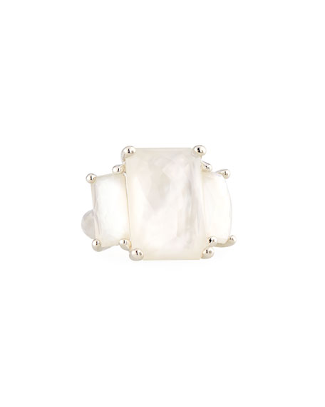 Sterling Silver 3-Stone Large Rectangle Cocktail Ring in Mother-of-Pearl