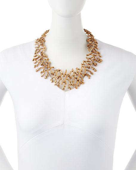 Golden Coral Branch Necklace