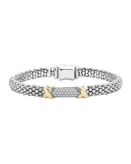 Diamond Lux Silver & Gold Bracelet, Sz 7