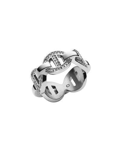 Silvertone Pave Maritime Link Ring