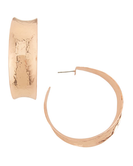 NEST Jewelry Hammered Rose Gold-Plated Hoop Earrings