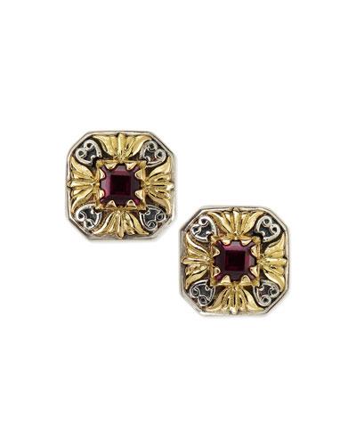 Silver & 18k Gold Rhodolite Stud Earrings