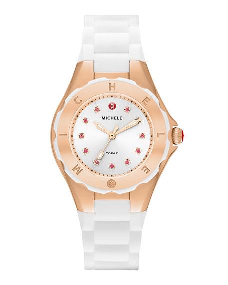 Tahitian Jelly Bean Petite Carousel Watch, White/Rose