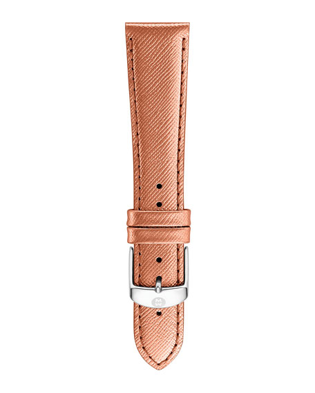 MICHELE 20mm Saffiano Leather Strap, Rose Gold