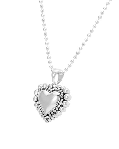 Caviar Beaded Heart Pendant Necklace