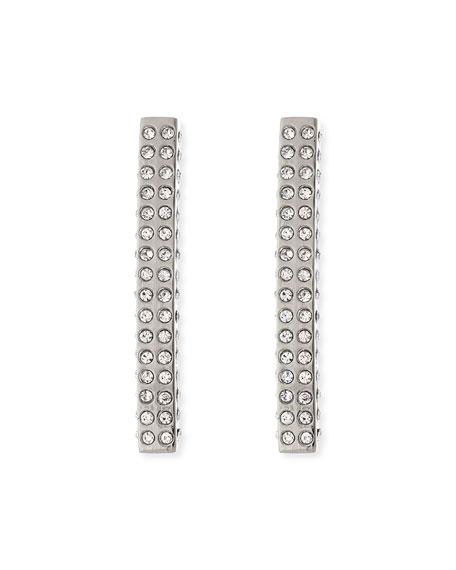 Vita Fede Lia Crystal Bar Earrings, Silvertone