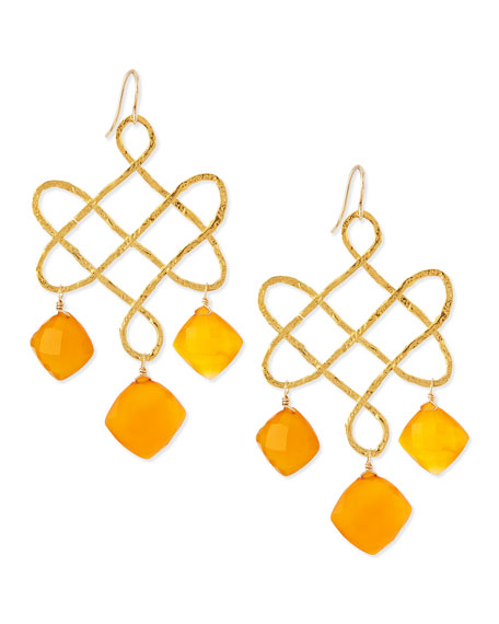 Devon Leigh Small Carnelian Chandelier Earrings