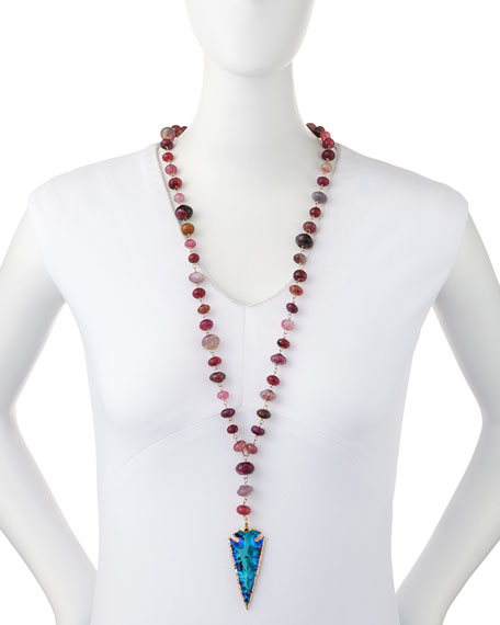 Long Arrowhead Pink Agate Necklace