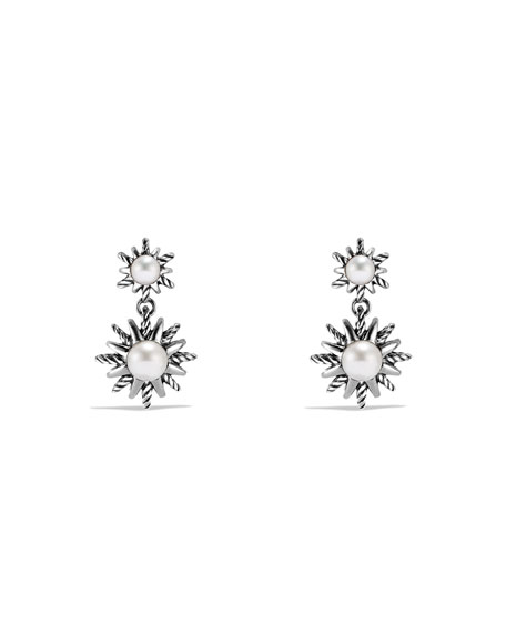 David Yurman Starburst Double-Drop Earrings with Pearls