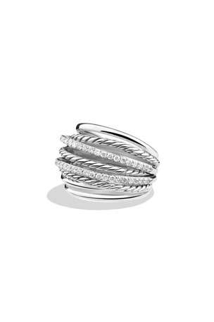 David Yurman Crossover Ring with Diamonds