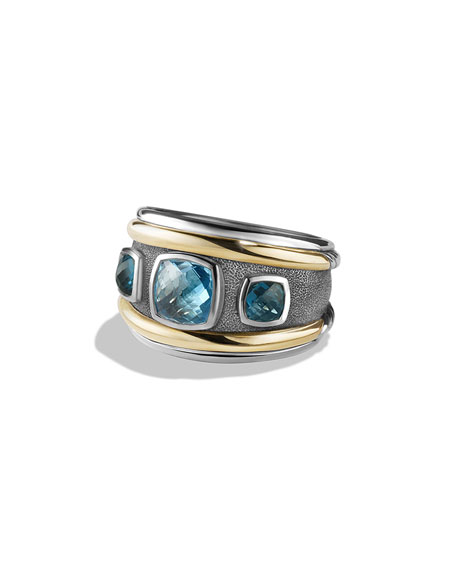 RENAISSANCE RING WITH BLUE TOPAZ, HAMPTON BLUE TOPAZ AND 14K YELLOW GOLD
