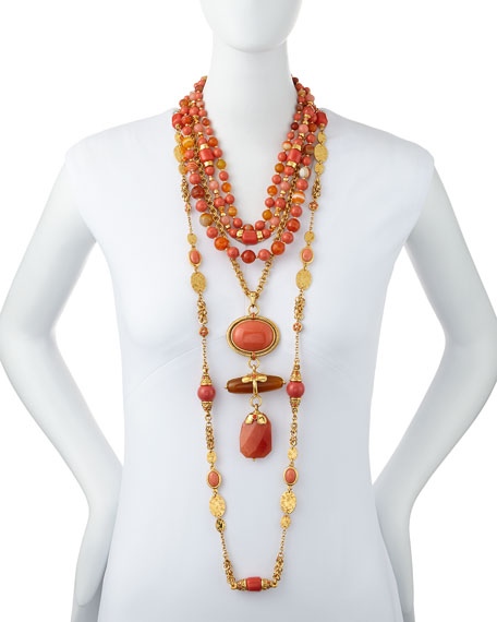 Triple-Strand Beaded Necklace, Coral