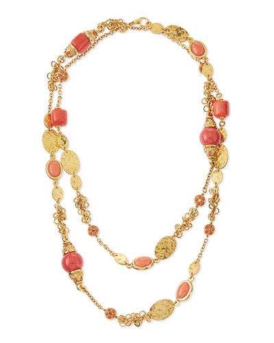Long 24k Gold-Plate Bead Necklace, Coral