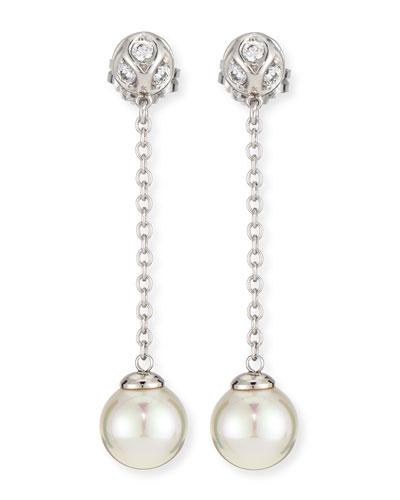 Pearl & CZ Silver Chain Drop Earrings