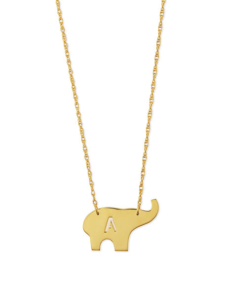 Nala Elephant Initial Pendant Necklace, Gold, 16