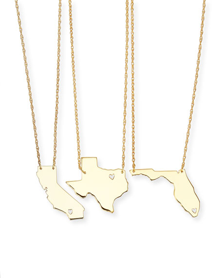 Personalized State Pendant Necklace, Gold, Missouri-Wyoming