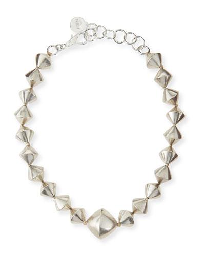 Oxidized Silver Cone Bead Necklace