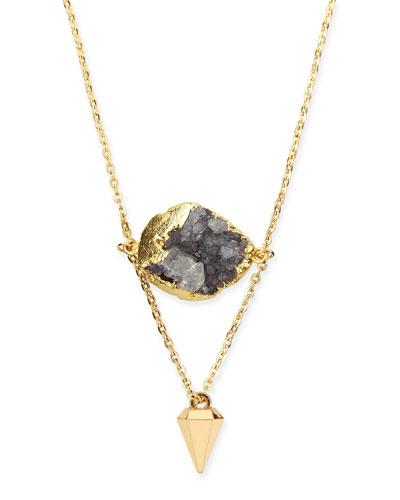 Purple Druzy Layered Drop Necklace