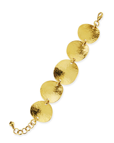 Gold-Plated Hammered Disc Bracelet