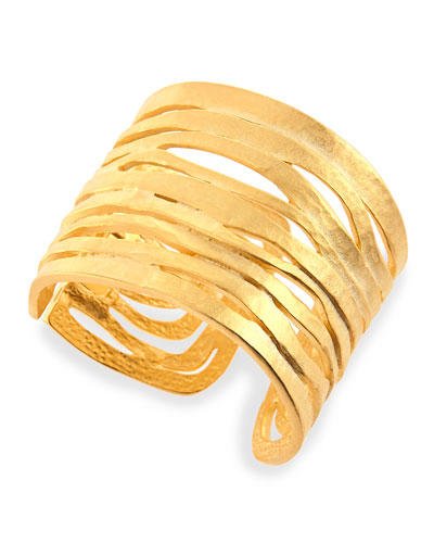 Golden Satin Wavy Cutout Cuff