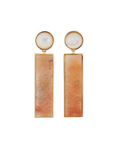 Regal Column Earrings, Peach Aventurine