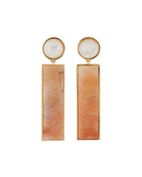 Lizzie FortunatoRegal Column Earrings, Peach Aventurine