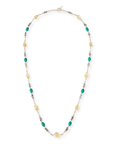 Turquoise & Citrine Long Necklace
