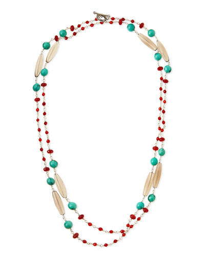 Turquoise, Red Agate & Quartz Long Necklace