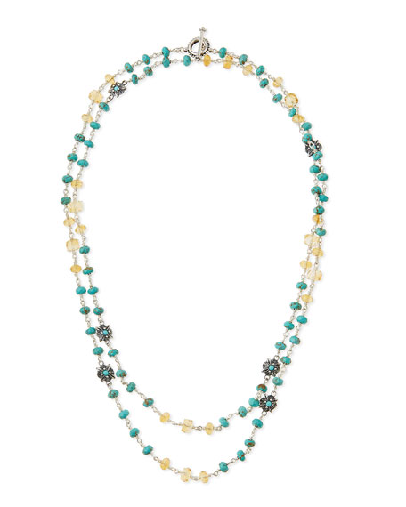 Silver Turquoise & Citrine Flower Necklace