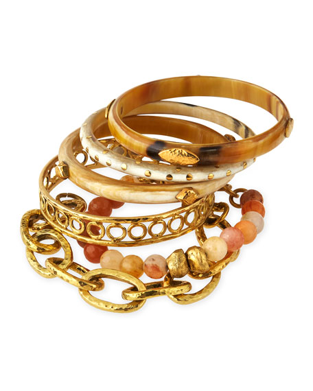 Ashley Pittman Zito Mixed Bangle Set, Bronze/Light Horn
