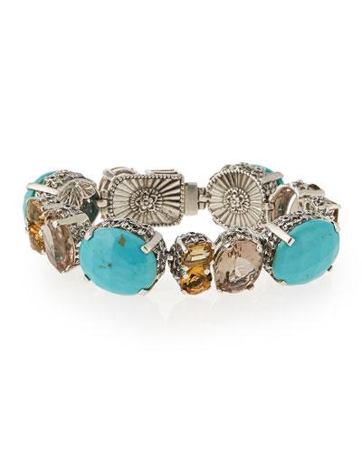 Turquoise & Quartz Link Bracelet