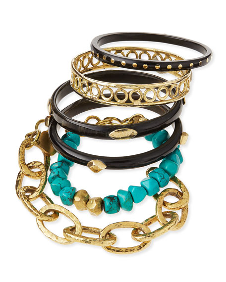 Ashley Pittman Zito Dark Horn Bangles, Set of