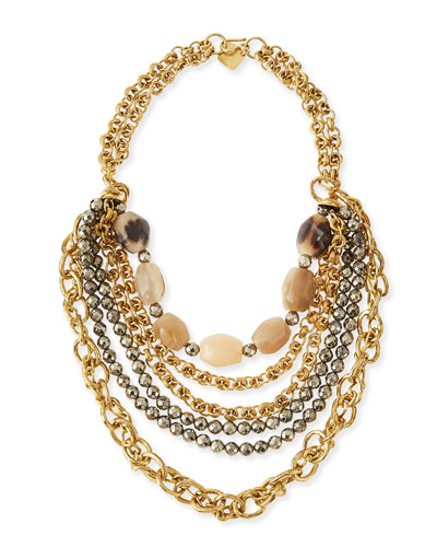 Johari Bronze & Pyrite Multi-Strand Necklace
