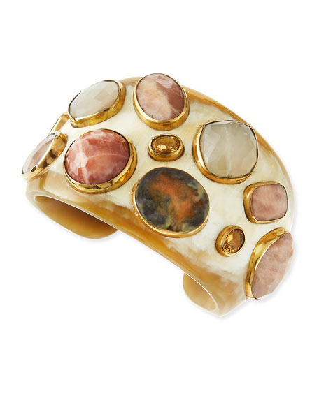 Ashley Pittman Mawe Light Horn Stone Cuff