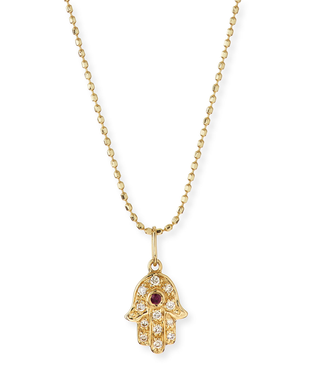 Sydney evan 14k gold diamond hamsa pendant necklace neiman marcus mozeypictures Gallery